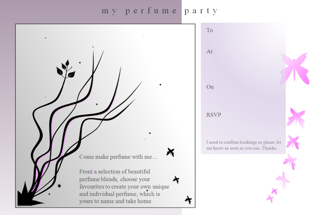 My Perfume Party 12th birthday party invitation Reeds and
