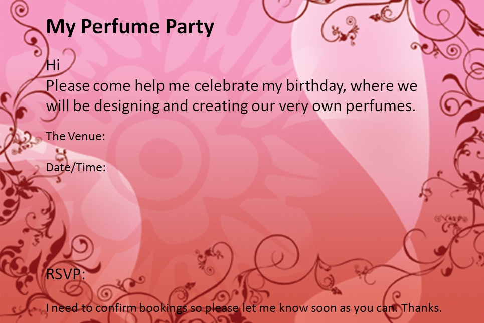 My Perfume Party 12th birthday party invitation