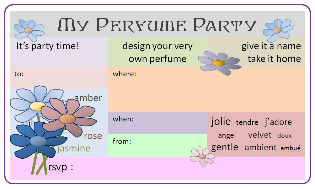 My Perfume Party 13th birthday party invitation