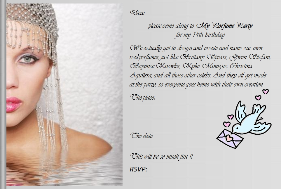my perfume party 14th birthday party invitation